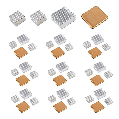 40 PCS Raspberry Pi Heatsink Kit by Lanpu, High Performance Aluminum Heatsink for Raspberry Pi B B+ 2 and 3, Heatsink Copper Pad Shims, with thermal conductive adhesive tape by Lanpu
