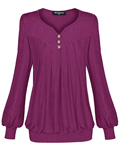Miagooo Blouses Shirts for Women, Women's V Neck Pleated Front Long Sleeve Stretch Knit Band Tunic Blouse Top(Violet (Stretch Knit Blouse)