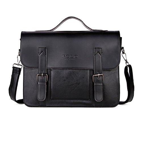 VICUNA POLO Men Briefcase Leather Messenger Bag For Men Loptop Bag Shoulder Bag - Black Model Polo