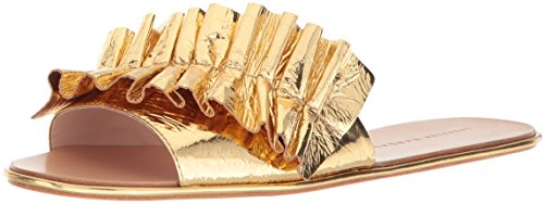 Loeffler Randall Women's Rey (Metallic Foiled Leather) Slide Sandal, Gold, 9 M US