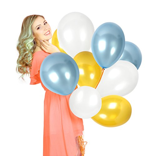 Pack of 100 White Gold and Blue 12 Inch Latex Premium Quality Balloons for Gender Reveal Party Supplies Boy Baby Shower Pearl Wedding Announcement Decorations for $<!--$11.59-->