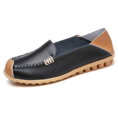 NiNE CiF Womens Soft Leather Slip On Loafers Casual Flat Moccasins(9.5 B(M) (Ladies Leather Casual Shoes)