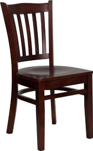 Flash Furniture 4 Pk. HERCULES Series Vertical Slat Back Mahogany Wood Restaurant Chair Beechwood Slat Back Kitchen Chair
