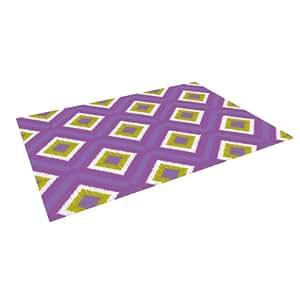 """Kess InHouse Nicole Ketchum """"Purple Spash Tile"""" Indoor/Outdoor Floor Mat, 5-Feet by 7-Feet"""