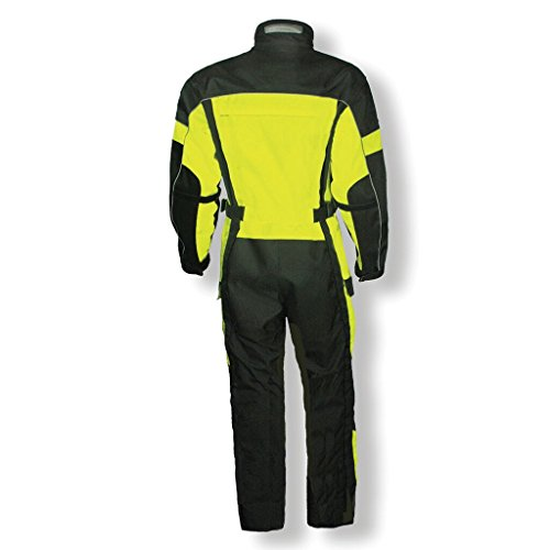 Olympia Moto Sports Men's Odyssey Vent Tech Suit (Black/Neon Yellow, X-Large) by Olympia Moto Sports (Image #1)