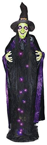 (Lifesize 6' Light Up Talking Witch Halloween Standing Prop Decoration)
