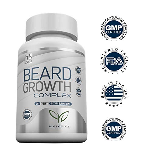 Beard Growth Vitamins   Biotin For Faster Hair Growth 1,333% daily value   Thickening Facial Hair Supplement For Men   Naturally Fuller, Healthier Beard   All Hair Types