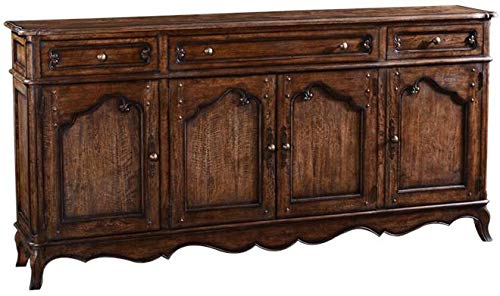 EuroLuxHome Sideboard French Country Provincial Rustic Pecan Four Doors (Provincial Sideboard French Furniture)