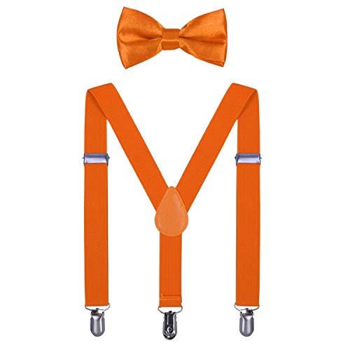 Kids Suspender Bow Tie Sets - Adjustable Braces With Bowtie Gift Idea for Boys and Girls by WELROG(Fluorescent Orange)]()