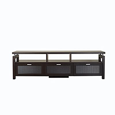 """ioHOMES Vintner Contemporary TV Stand with Storage Glass Front Compartments, 3 Open Shelves Media Console, 70"""", Espresso - Contemporary style television stand Spacious 70-inch surface Three open shelves and three covered compartments; Decorative frosted glass fronts - tv-stands, living-room-furniture, living-room - 41uAvhDRAUL. SS400  -"""