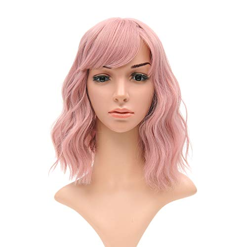 Pink Wig Costumes (Short Bob Wigs With Air Bangs Shoulder Length Women's Short Wig Curly Wavy Synthetic Cosplay Wig Pastel Bob Wig for Girl Costume Wigs pink)