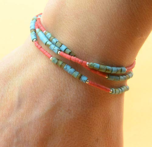 i turquoise and coral color beads and sterling silver beads bracelet/necklace.Dainty bracelet.Wrap ()