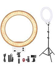 Neewer Led-ringlamp, 18 inch, met lichtstatief, dimbaar, 50 W, 32000-5600 K, met kleurfilter, flitsschoen-adapter, mobiele telefoonhouder voor make-up, camera/smartphone YouTube video-opnames