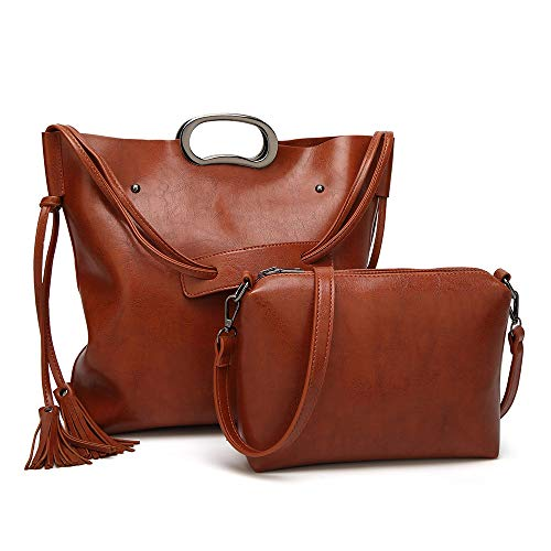 - Large Capacity Tote Bags Women's Handbags with PU Leather Shoulder Bag for Ladies brown