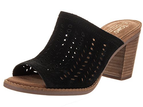 0fd99805c12 Galleon - TOMS Women s Majorca Mule Sandal Black Suede Perforated Leaf 8.5  B US
