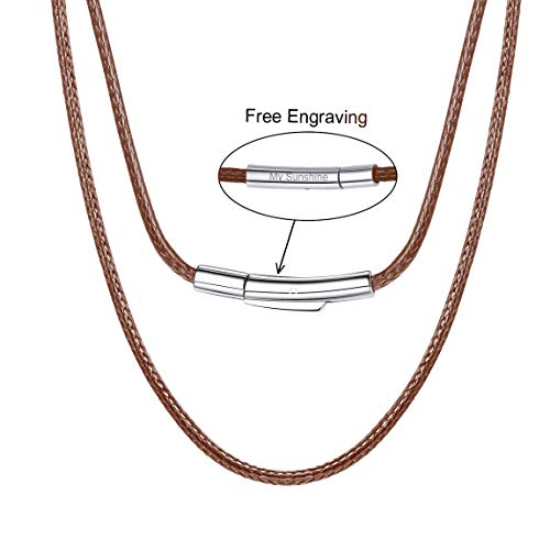 (Personalized Necklace 2mm 24 Inch Brown Leather Cord Chain for DIY Jewelry Combined with Pendant or as Necklace Brown)