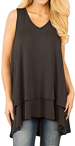 Kuraki Women's Sleeveless V Neck Cotton Blend Shirt Layer Tank XXL Black ()