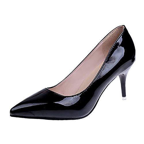 Black Mujeres Yukun Profunda Punta zapatos De de Zapatos Trabajo tacón Zapatos Boca Baja Boca Cortos Mujer Zapatos Poco De Alto Tacón Charol De De Zapatos para De alto rrSp1xnq