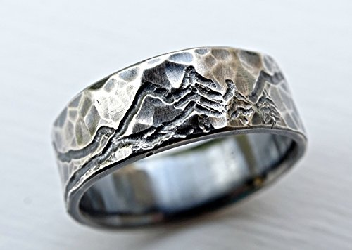 rustic mountain range ring, engraved landscape ring for him and her, outdoor wedding ring silver, man wedding band, customized mountain ring by CrazyAss Jewelry Designs