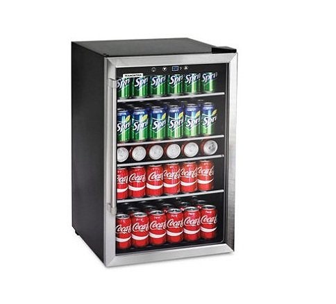 Read About Tramontina 126-Can Capacity Stainless Steel Trim Wine Soda Beverage Center Glass Door Ref...