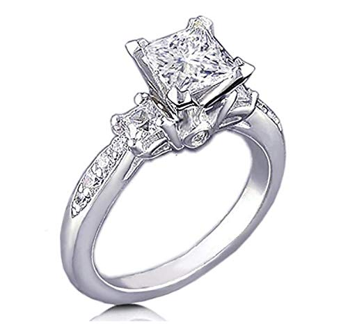 Venetia Realistic Supreme Princess Cut 3 Stones Simulated Diamond Ring 925 Silver Platinum Plated Pave Art Deco Decor -