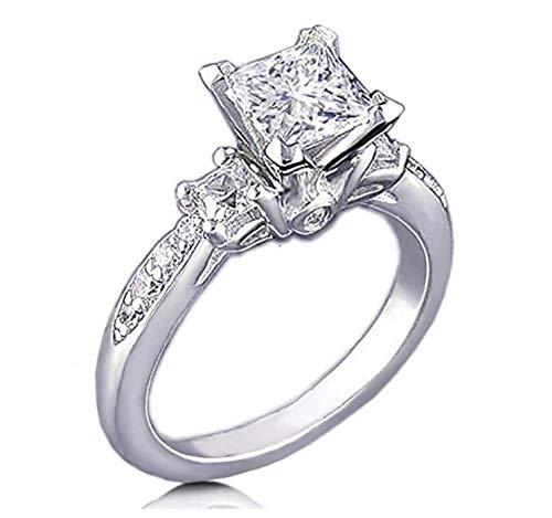 Venetia Realistic Supreme Princess Cut 3 Stones Simulated Diamond Ring 925 Silver Platinum Plated Pave Art Deco Decor ()