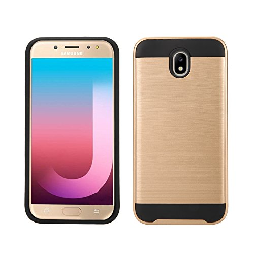 New Frontier Wireless Accessory Compatible with Samsung Galaxy J7 Pro / J730G, Slim Armor Hybrid Cover [Scratch/Dust Proof] Defender Dual Layer Shockproof Protection Case (VGC Gold)