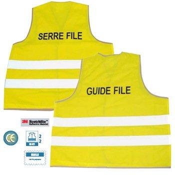Gilet de signalisation Guide File - Couleur Jaune Fluo - Marquage au dos - Taille XL - Gilet de sécurité Signaletique.biz