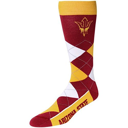 For Bare Feet NCAA Argyle Lineup Crew Socks (Arizona State Sun Devils, One Size Fits Most)