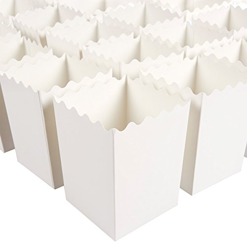 Set of 100 Popcorn Favor Boxes - 16oz Mini Paper Popcorn Containers, Popcorn Party Supplies for Movie Nights, Carnival Parties, Baby Showers and Bridal Showers White - 3 x 4 x 3 Inches]()