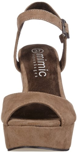 Mimic Copenhagen Suede Wedge M131609 - Zapatos de pulsera de cuero para mujer Marrón (Braun (Taupe))