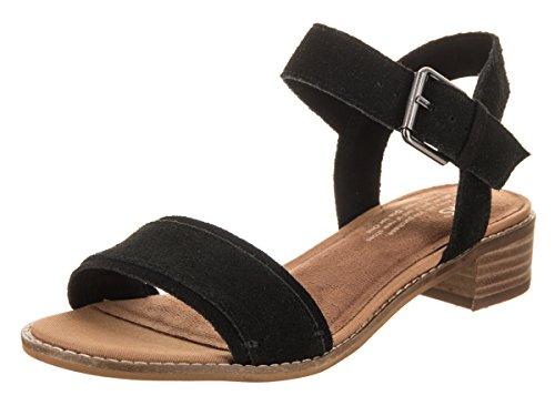 Toms 10011694: Women#039s Camilia Black Suede Heeled Sandals 8 BM US Women