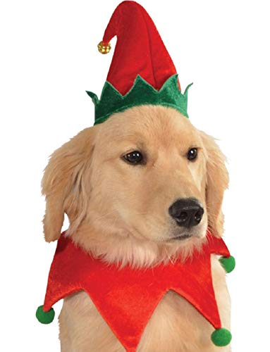 Red Green Festive Jolly Christmas Toy Shop Elf Hat Pet Dog Costume -