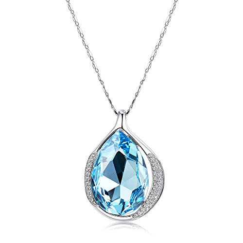 KesaPlan Blue Teardrop Swarovski Crystals Pendant Necklace for Women, Crystals from Swarovski, Jewelry Gift for Her