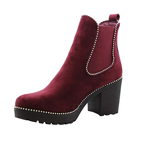Women 3 Studded Size Boots Shoes Heel STYLES Ladies Burgundy Chelsea Block 8 Chunky Wine Mid Ankle Boots SAUTE Office f4HgwEqn