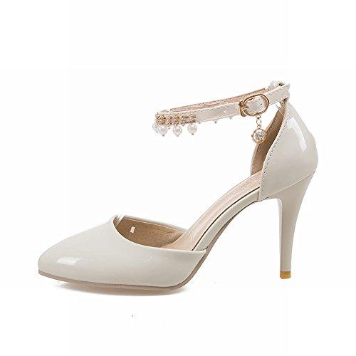 MissSaSa Damen high heel Pointed Toe Pumps mit künstlich Perlen Beige