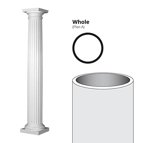 Fiberglass Columns (Endura-Stone Round Tapered Fluted Column (FRP), Smooth Paint-Grade, Tuscan Capital & Base, 8