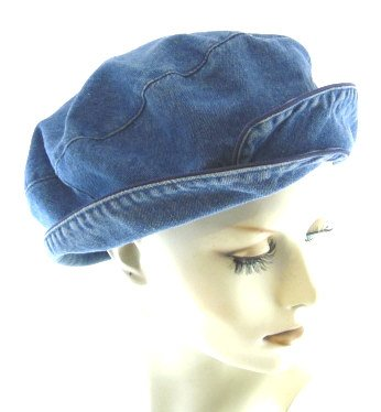 Denim Double Beret at Amazon Women s Clothing store  Bucket Hats 8f0219ff28e