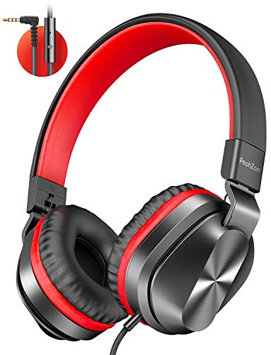 PeohZarr On-Ear Headphones with Microphone, Lightweight Folding Stereo Bass Headphones with 1.5M Tangle Free Cord…