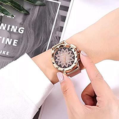 Women'S Fashion Rose Gold Flower Watch With Steel Strip Crystal Dial Rhinestones Luxury Watches Casual Woman Quartz Watch Female Watch?Multicolor? from MONISE