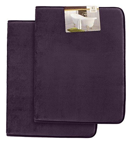Clara Clark Non Slip Memory Foam Tub-Shower Bath Rug Set, Includes 2 Small Size 17 X 24 inches – Dark Purple