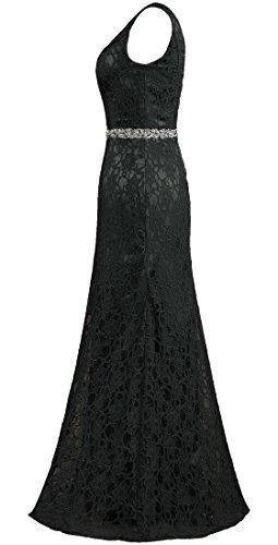 V Sleeveless Gown Women s Neck Dresses Evening Black Long ANTS Lace zEqIgxOE