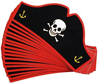 Juvale Paper Pirate Party Hats for Halloween (24 Pack) Black