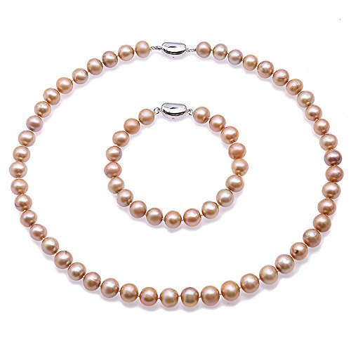 """JYX Pearl Jewelry Set 9-10mm Round Champagne Freshwater Pearl Necklace&Bracelet Set for Women 18"""""""