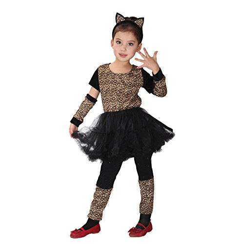 Girls Leopard Cheetah Animal Halloween Costumes Child Role Play Cosplay Dress Up (6-7)
