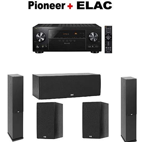 Pioneer Elite AV Receiver (VSX-LX302) + Pair of Elac Debut 2.0 F5.2 Floorstanding Tower + ELAC Debut Center Speaker + ELAC Debut Bookshelf Speakers Bundle