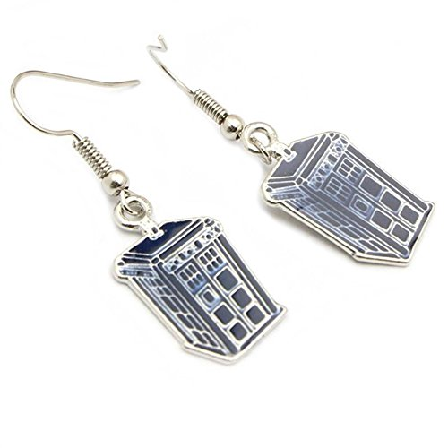 J&C Dangle Earrings Dr. Who Blue & Silver Police Box In Gift Box by J&C Family Owned