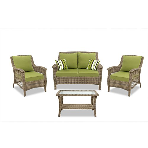 Quality Outdoor Living Greenport All-Weather Resin Wicker Deep Seating Patio Set, 4-Piece, Light Brown with Green Cushions Review