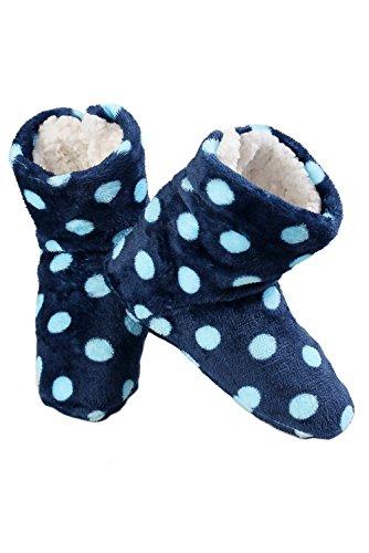 Pantofola Stampata Da Donna Iconoflash Con Fodera In Shearling Finto Blu A Pois