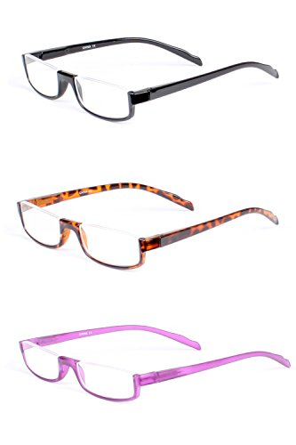 LL Half Rim Rectangle Reading Glasses 1.75 3 Pack Spring Hinge Clear Retro - Glasses Couch